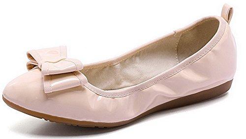 VogueZone009 Femme Pu Cuir Non Talon Rond Couleur Unie Tire Chaussures à Plat Rose