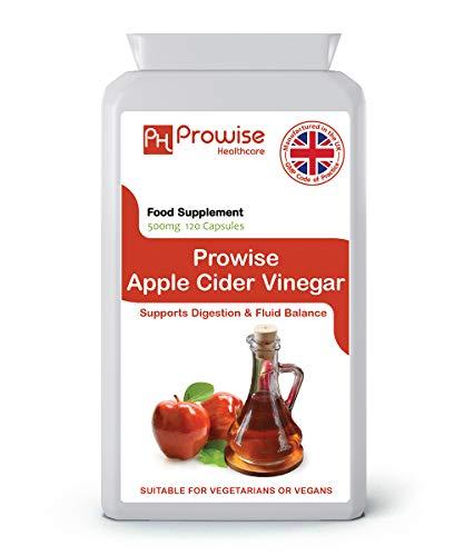 500 mg de vinagre de sidra de manzana - 120 cápsulas - Reino Unido Fabricado con GMP Calidad garantizada - Adecuado para vegetarianos y veganos Por Prowise Healthcare