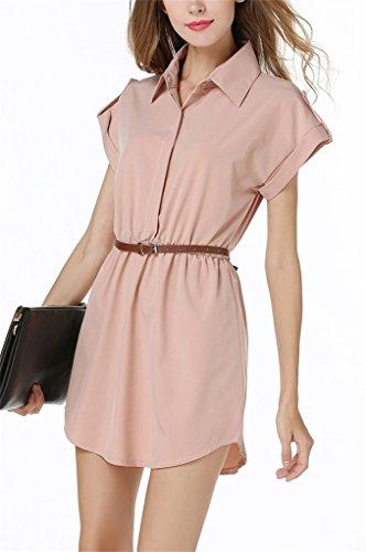 Fortuning's JDS Hemd-Sleeves stilvolle Farbe Bluse Kappe Riemen auf Taille Minikleid für Mädchen, Nude