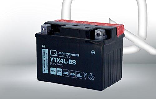 Q-Batteries Motorrad-Batterie YTX4L-BS AGM 50314 12V 3Ah 60A