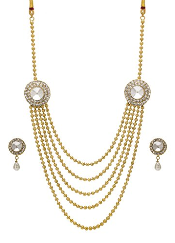 Bindhani® Traditional Gold Plated Ethnic Long Rani Har (Haar) White Necklace Earrings Set For Women  available at amazon for Rs.443