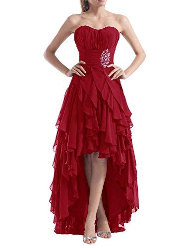 Find Dress Femme Sexy Robe de Soirée/Cocktail/Cérémonie Bustier Robe Asymétrique à la mode en Mousseline de Soie avec Appliques Rouge Foncé
