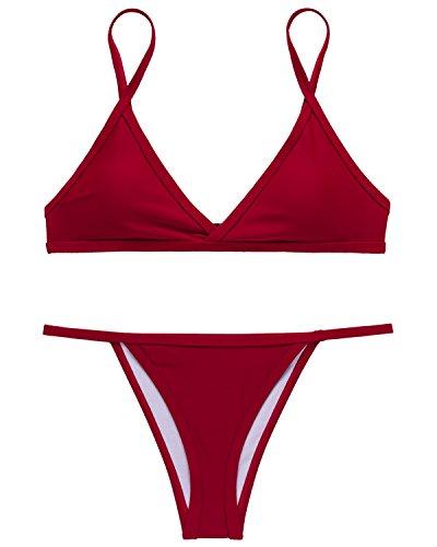 X-HERR Donna Colore Contrasto Triangolo Superiore Bottomino Brasiliano Costumi da bagno Bikini Rossetto