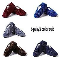 LXLTL Reusable Shoe Cover, 5-pair/5 color suit Non-Slip Flannel Washable Shoe/Boots Cover Dustproof Overshoes for Household Indoor