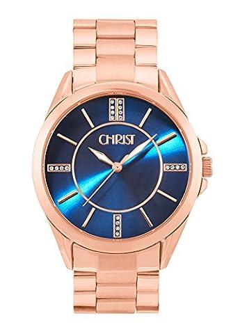 CHRIST times Damen-Armbanduhr Analog Quarz One Size, blau, rosé