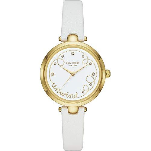 Reloj para Mujer Kate Spade con Correa de Cuero Blanco y Esfera Dorada de Acero Inoxidable para Mujer KSW1510