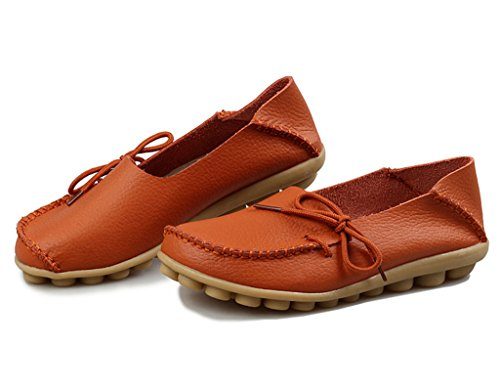 Bon Augure Dames Orange Travail En Cuir Mocassins Mocassins Flats Chaussures Confortables