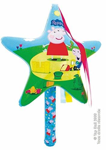 EventExpress24 Aufblasbarer Zauberstab mit Stern, Kinder-Zeichentrickserie Peppa Pig, bunt, 70 cm