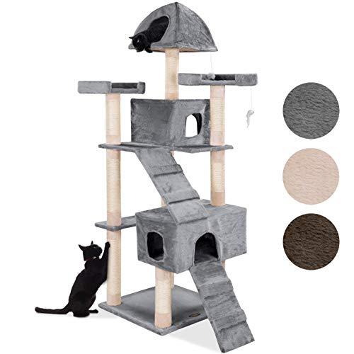 happypet® Kratzbaum für Katzen groß 181 cm hoch, CAT002-4, Kletterbaum Katzenbaum für mehrere Katzen geeignet, Dicke Sisalstämme ca. 8 cm, Haus, Lauframpen, Aussichtsplattformen, Spielmaus, GRAU