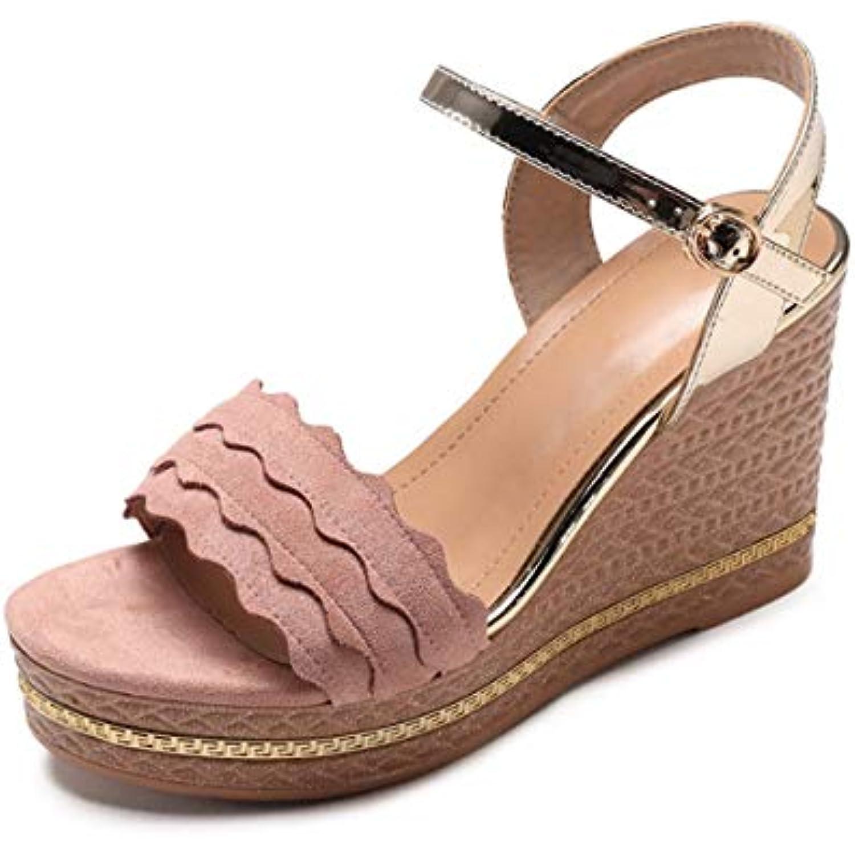 HBDLH Chaussures pour Femmes/Un Mot De L'Été des Sangles Talon Boucles Rampe Talon Sangles Imperméable DE 10 Cm Exposés Orteils... - B07GXDY2S6 - ee3910