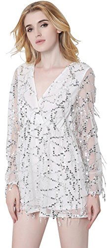 Jeansian Femmes Sexy Deep V Bling Brillant Tassel Robe Paillettes Flapper Manches Longues Women Glam Evening Party Mini Dress Clubwear WHW001 white