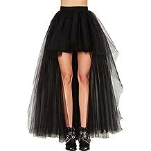 Damen Vintage Steam Punk Rock titivate Gothic Chiffon Spitze Cocktail Party Kostüm Slip Schwarz Mesh Hohe Taille Frauen Lange Rock