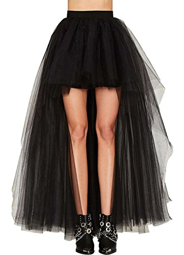 Damen Vintage Steam Punk Rock titivate Gothic Chiffon Spitze Cocktail Party Kostüm Slip Schwarz Mesh Hohe Taille Frauen Lange Rock (4XL:EU44-45/Taille:94cm) (Frauen Outfits Halloween)