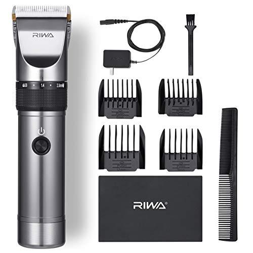 Riwa X9 Kit de Tondeuse à Cheveux Barbe Hommes Professionnelle Rechargeable Lames Céramiques à Faible Bruit Super longue Durée d'Autonomie, Noir