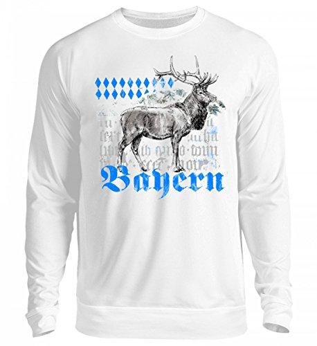 Hochwertiger Unisex Pullover - Bayern Trachten T-Shirt mit Hirschmotiv für Herren, Damen & Kinder | Bayrischer Hirsch