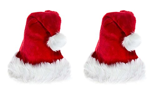 2 er Set Weihnachtsmütze Nikolausmütze Plüsch Rand Rot Weihnachtsfeier ()