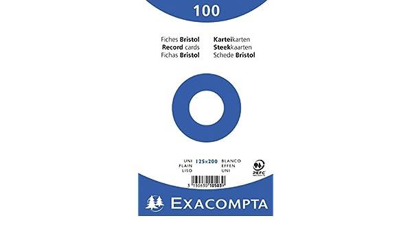 Exacompta 10503E Pack de 100 Fiches 125 x 200 mm Lisse