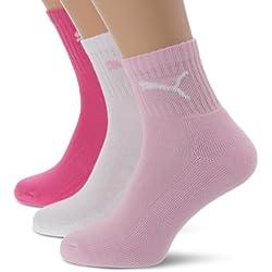 Puma Short Crew 3 pares, Calcetines unisex, Rosa (Pink Lady), Medium (Taille fabricant: 39/42)