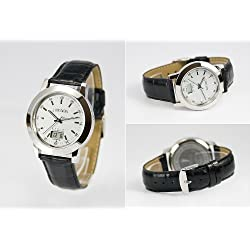 Euro Asynchronous with Junghans Movement Watch Stainless Steel Leather Band Watch Radio SE 9010-2912