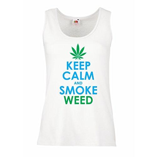 lepni.me Camisetas sin Mangas para Mujer Mantener la calma y humo - hoja de marihuana (XX-Large Blanco Azul)