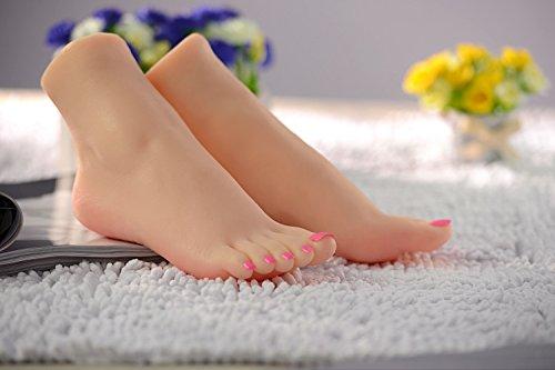Sumeber Silikon Füße Mädchen Fuß Mannequin Klone Füße Fetisch Job Spielzeug Gebräunte Haut (EU35)