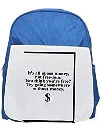 Cita de Bill Hicks sobre importancia de dinero Impreso Kid s azul mochila, para