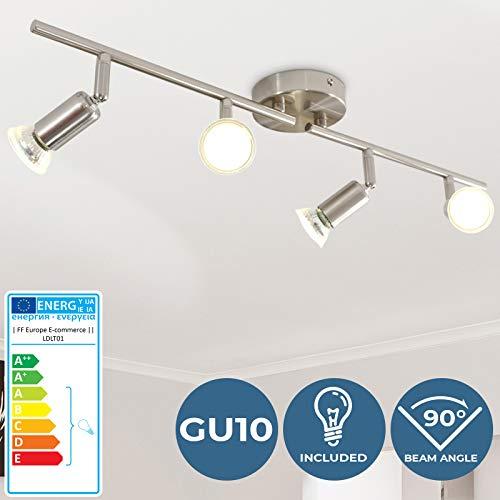 LED Deckenleuchte - EEK: A++, für GU10, mit 4 Strahlern, Warmweiß, 3000K - Deckenlampe, Badlampe, Schlafzimmerleuchte - für Wohnzimmer, Badzimmer, Schlafzimmer, Flur, Esszimmer, Küche, Kinderzimmer