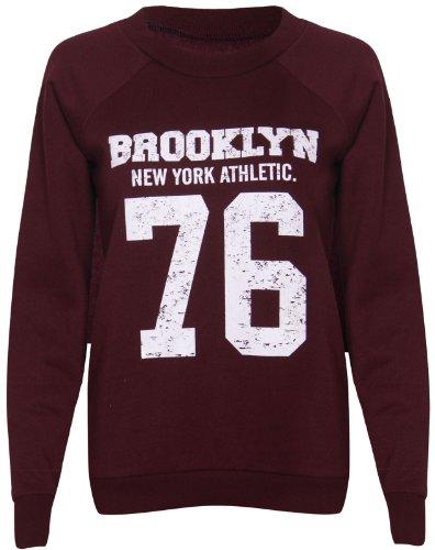 Purple Hanger - Sweat Manches Longues Femme Imprimé Brooklyn New York Athletic 76 Bordeaux