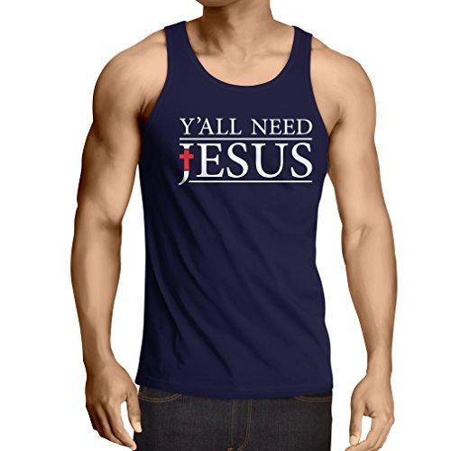 Canottiera da uomo senza maniche Voi tutti bisogno di Gesù - abbigliamento Christian Religiosi (Large Azzulo Multicolore)