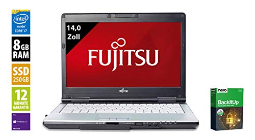 Fujitsu LifeBook S751 Notebook | 14,0 Zoll Display (1366x768) | Intel Core i7-2640M @ 2,8 GHz | 8GB DDR3 RAM | 250GB SSD | DVD-Brenner | Windows 10 Pro (Generalüberholt) 2.8 Ghz Notebook