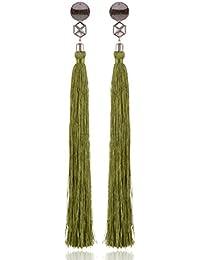 Shoulder Length Tassel Earring Green Alloy Dangle & Drop Earrings For Women (ER68dpslvgrn)