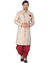 Vastramay Men Cotton Blend Sherwani Style Kurta Set (Biscuit_VASMSW124nCDMA)
