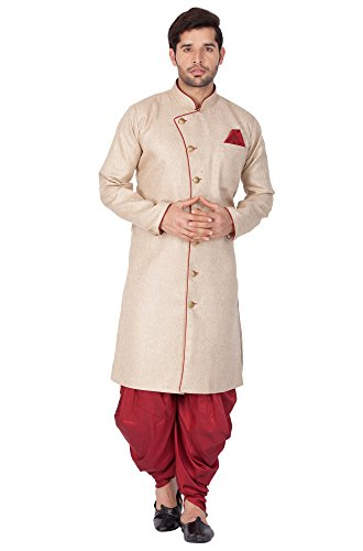 Vastramay Men Cotton Blend Sherwani Style Kurta Set (Biscuit_VASMSW124nCDMA_42)