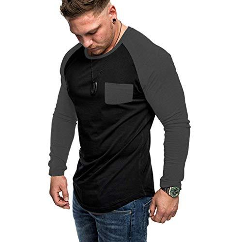 Crazboy Herbst Herren Mode Trend T-Shirts Beiläufig Und Komfortabel Nähen Tasche Sweatshirt(XX-Large,Grau)
