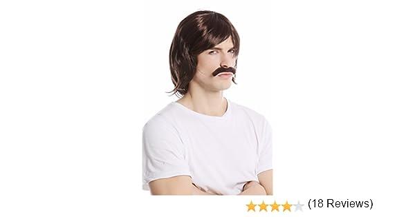 91105-ZA4 perruque moustache set carnaval halloween longue brune ann/ées 70 policier WIG ME UP /®