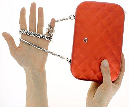 Sac minaudière Quilted Lady bag Gris argent Aluminium matelassé Ögon designs QLB-Silver Rouge