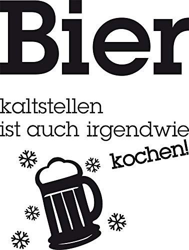GRAZDesign Kühlschrank Aufkleber Sticker - Wandsticker Küche selbstklebend Bier kaltstellen ist auch Kochen - Kühlschrankaufkleber Geschenk Vattertag Papa / 66x50cm / 620460_50_070