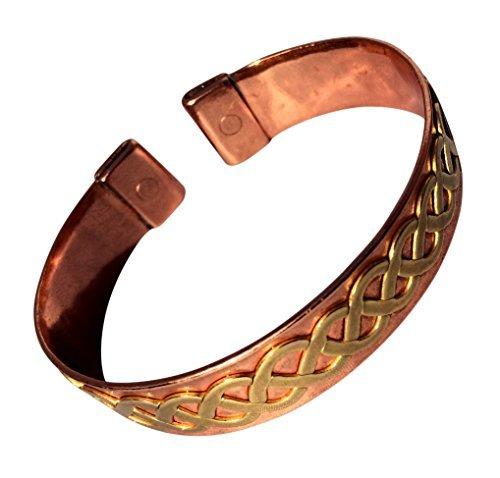 Magnet Kupfer Ehering mit Messing Keltisch Twist massiv Kupfer Armband - 2 Armbanduhr Größen - CCB -mb32 - Medium - 172mm (6 3/4