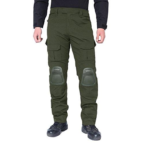 MAGCOMSEN Pantalon de Chasse pour Homme Airsoft Militaire Multicam Tactical Pantalon de Combat avec genouillères XXL Vert