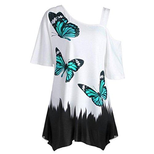 TUDUZ Damen Sommer Große Größe Schulterfrei Schmetterling Druck Kurzarm T-Shirt Festliche Oberteile Tops Bluse(XXXL,Grün)