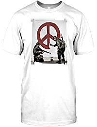 Banksy - Soldiers Painting Peace - Urban Artist Mens T Shirt - Funny