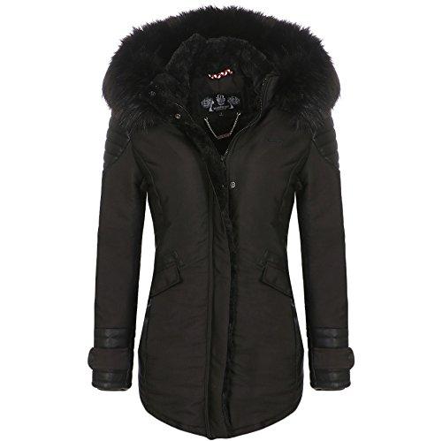 Nylon-fleece-jacke-mantel (Marikoo Damen Winter Jacke Mantel Fellkragen Parka Kapuze Teddyfell ZBFE (M, Schwarz))