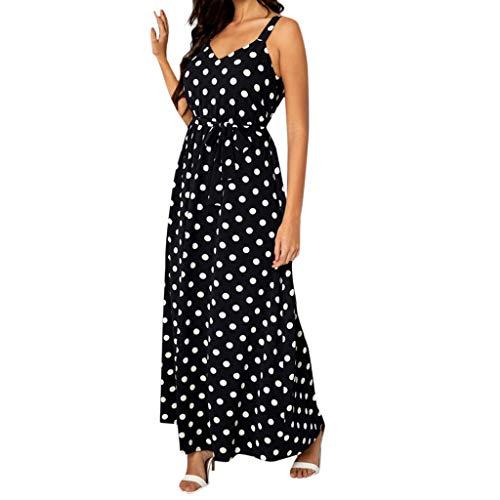 BestShope ♞♜♛ Women Halter Neck Boho Dot Print Sleeveless Casual Long Beachwear Dress ()