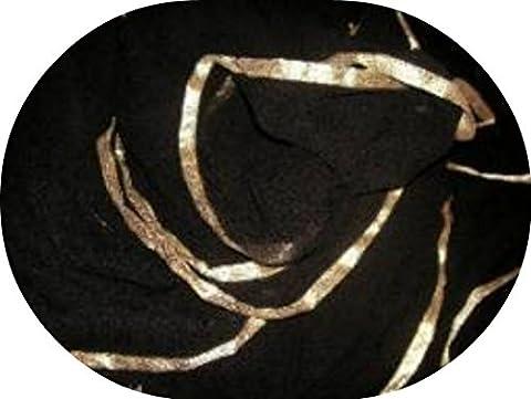 Tänzer Welt GOLD Getrimmte SEMI CIRCLE Schleier Bauchtanz Kostüm Schleier Wrap Schal (BLACK GOLD) (Bauchtanz-kostüme Amazon)