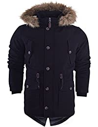 Island Trading Mens Heavy Weight Cotton Parka Winter Coat Fur Fishtail Long Jacket