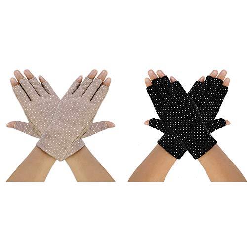guanti mezze dita donna Guida Guanti Donne Estate UV Protezione Magro Guanti Senza Dita di Protezione Solare Breve e Antiscivolo Mittens