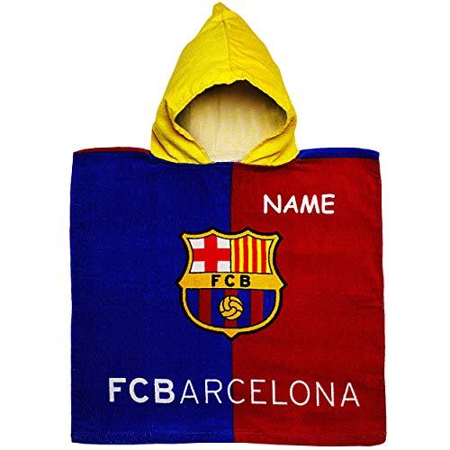 alles-meine.de GmbH Badeponcho / Kapuzenhandtuch - Fußball - FC Barcelona - FCB - inkl. Name - 100 % Baumwolle - 50 cm * 105 cm - 2 bis 6 Jahre Poncho - mit Kapuze - Frottee / Ve.. -