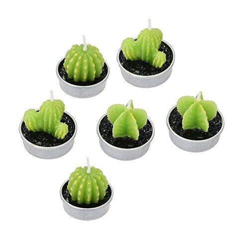 6 Stück 3 Arten Kaktus Kerzen Kaktus Teelicht Deko Teelicht Kerzen rauchfrei für Weihnachten Hochzeit Geburtstag Party Halloween Festival oder Ausgang