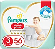 Pampers Premium Care Pants, Size 3, Midi, 6-11 kg, Jumbo Pack, 56 Diapers