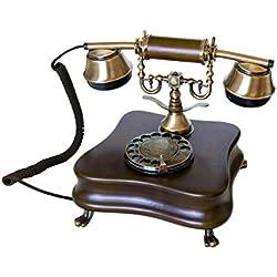 Télefono Retro/telefono Fijo Vintage de Madera y Metal con Disco de marcar y Campana metálica